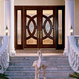 IWP Custom Wood 252 Mahogany Doors and Sidelights, with Merlot finish, A Glass and Brass Caming